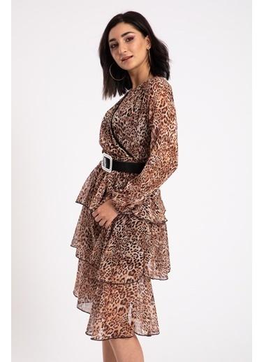 Madame Sare  Kadın Leopar Desenli Kemerli Kısa Elbise Renkli